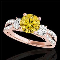 1.5 ctw Certified SI Intense Yellow Diamond 3 Stone Ring 10k Rose Gold