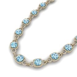 66 ctw Topaz & VS/SI Diamond Certified Necklace 14K Yellow Gold