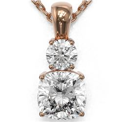 1.25 ctw Cushion Cut Diamond Designer Necklace 18K Rose Gold