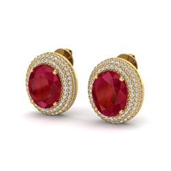 9.20 ctw Ruby & Micro Pave VS/SI Diamond Earrings 18k Yellow Gold