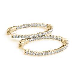 3.65 ctw Diamond VS/SI 40 MM Hoop Earrings 14k Yellow Gold