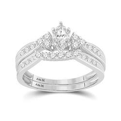14kt White Gold Womens Marquise Diamond Bridal Wedding Engagement Ring Band Set 1/2 Cttw