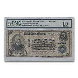1902 Plain Back $5 Amer Exch Bk Greensboro NC F-12 PMG (CH#10112)