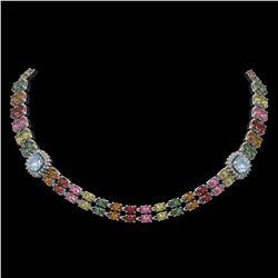 43.35 ctw Sapphire & Diamond Necklace 14K White Gold