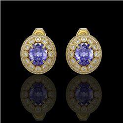 9.06 ctw Tanzanite & Diamond Victorian Earrings 14K Yellow Gold