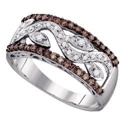 10kt White Gold Womens Round Brown Diamond Floral Band Ring 1/2 Cttw