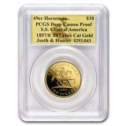 1857/0 $10 49er Horseman .887 Fine Cal Gold PCGS