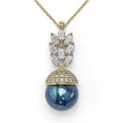 3.69 ctw Marquise Diamond & Pearl Necklace 18K Yellow Gold