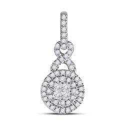 14kt White Gold Womens Princess Diamond Fashion Cluster Pendant 1/2 Cttw
