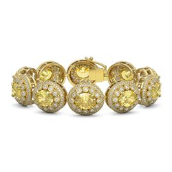 40.37 ctw Canary Citrine & Diamond Victorian Bracelet 14K Yellow Gold