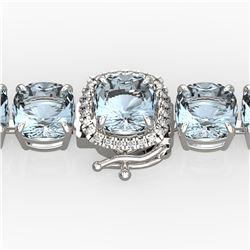35 ctw Aquamarine & Micro VS/SI Diamond Bracelet 14k White Gold