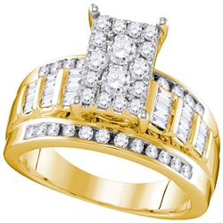 10kt Yellow Gold Womens Round Diamond Cluster Bridal Wedding Engagement Ring 7/8 Cttw - Size 5