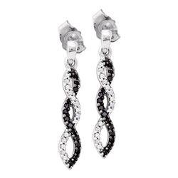10kt White Gold Womens Round Black Color Enhanced Diamond Twist Dangle Earrings 1/6 Cttw