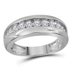 10kt White Gold Mens Round Diamond Single Row Wedding Band Ring 1.00 Cttw