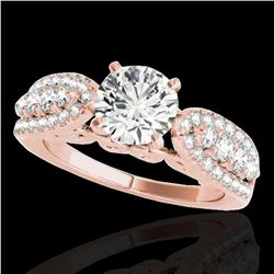 1.7 ctw Certified Diamond Solitaire Ring 10k Rose Gold