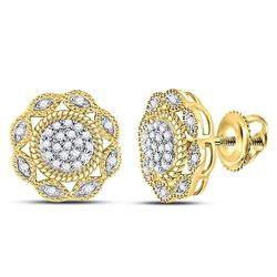 10kt Yellow Gold Womens Round Diamond Milgrain Cable Cluster Earrings 1/6 Cttw