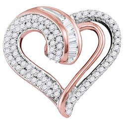 10kt Rose Gold Womens Round Diamond Heart Pendant 1/4 Cttw