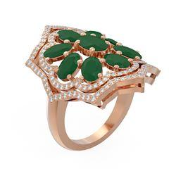 7.38 ctw Emerald & Diamond Ring 18K Rose Gold