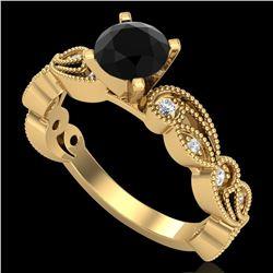 1.01 ctw Fancy Black Diamond Engagment Art Deco Ring 18k Yellow Gold