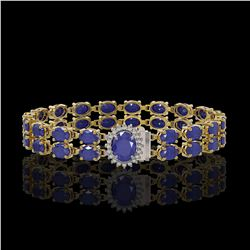 19.57 ctw Sapphire & Diamond Bracelet 14K Yellow Gold