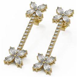 4.42 ctw Marquise Diamond Designer Earrings 18K Yellow Gold