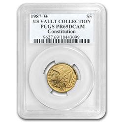 1987-W Gold $5 Commem Constitution PR-69 PCGS