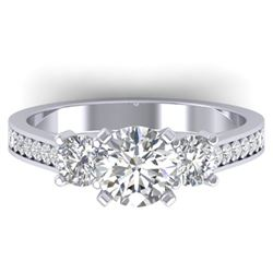 1.75 ctw Certified VS/SI Diamond 3 Stone Ring 14k White Gold