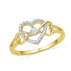 10kt Yellow Gold Womens Round Diamond Triple Heart Solitaire Ring 1/10 Cttw