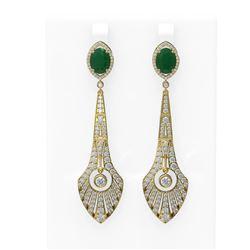 9.69 ctw Emerald & Diamond Earrings 18K Yellow Gold
