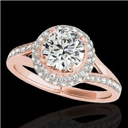 1.85 ctw Certified Diamond Solitaire Halo Ring 10k Rose Gold