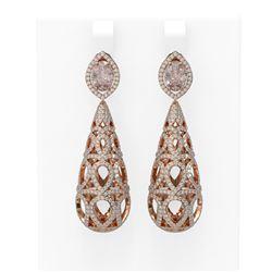 6.72 ctw Morganite & Diamond Earrings 18K Rose Gold