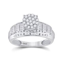 10kt White Gold Womens Round Diamond Cluster Bridal Wedding Engagement Ring 1/2 Cttw