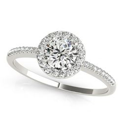 1 ctw Certified VS/SI Diamond Solitaire Halo Ring 14k White Gold