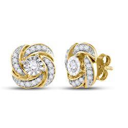 10kt Yellow Gold Womens Round Diamond Pinwheel Fashion Earrings 1/3 Cttw