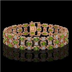 23.12 ctw Tourmaline & Diamond Bracelet 10K Rose Gold