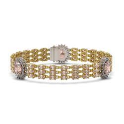 27.97 ctw Morganite & Diamond Bracelet 14K Yellow Gold