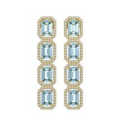 11.54 ctw Aquamarine & Diamond Micro Pave Halo Earrings 10k Yellow Gold