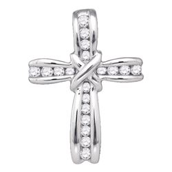 10kt White Gold Womens Round Diamond Bound Cross Pendant 1/5 Cttw