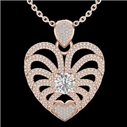 3 ctw Micro Pave VS/SI Diamond Certified Heart Necklace 14k Rose Gold