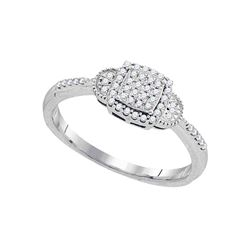 10kt White Gold Womens Round Diamond Square Cluster Ring 1/6 Cttw