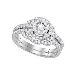 14kt White Gold Womens Round Diamond Bridal Wedding Engagement Ring Set 7/8 Cttw
