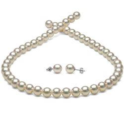 White Hanadama Japanese Akoya Pearl Jewelry Set, 8.0-8.5mm