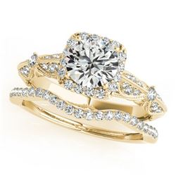 1.54 ctw Certified VS/SI Diamond 2pc Wedding Set Halo 14k Yellow Gold