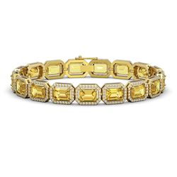 23.74 ctw Fancy Citrine & Diamond Micro Pave Halo Bracelet 10k Yellow Gold