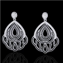 3 ctw Micro Pave Black & VS/SI Diamond Earrings Designer 18k White Gold