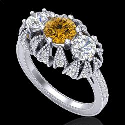2.26 ctw Intense Fancy Yellow Diamond Art Deco Ring 18k White Gold