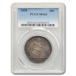 1858 Liberty Seated Half Dollar MS-63 PCGS