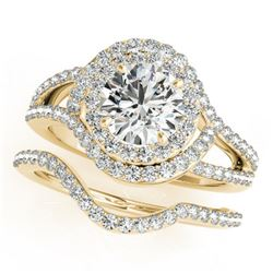 1.92 ctw Certified VS/SI Diamond 2pc Wedding Set Halo 14k Yellow Gold