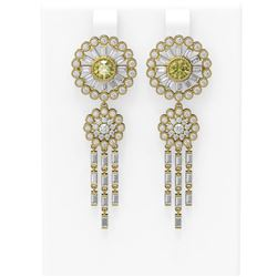 6.65 ctw Fancy Yellow Diamond Earrings 18K Yellow Gold