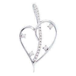 14kt White Gold Womens Round Diamond Wire Heart Pendant 1/5 Cttw
